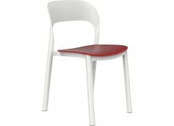 Plaststol Ona - hvid/rød