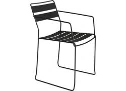 Straw stål stol med armlæn - sort